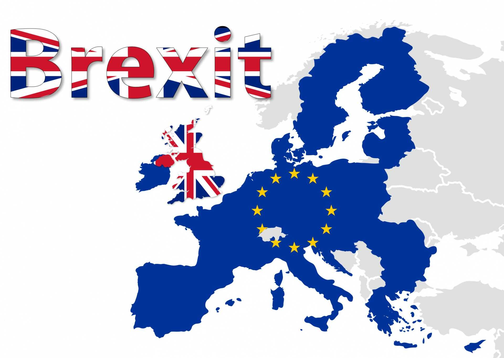 An illustration of Europe with a European flag over mainland Europe and a British flag over Britain alongside the word Brexit in a British flag