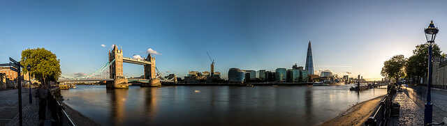 Wide angle view of the London skyline on a sunny day