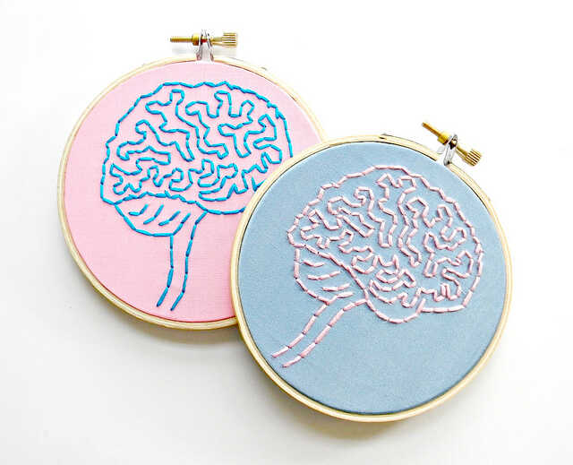 A pink and a blue embroidered brain