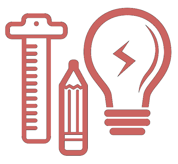 Pink icon of a lightbulb, ruler and pencil