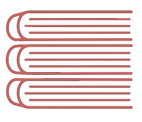 Pink icon of three stacked books