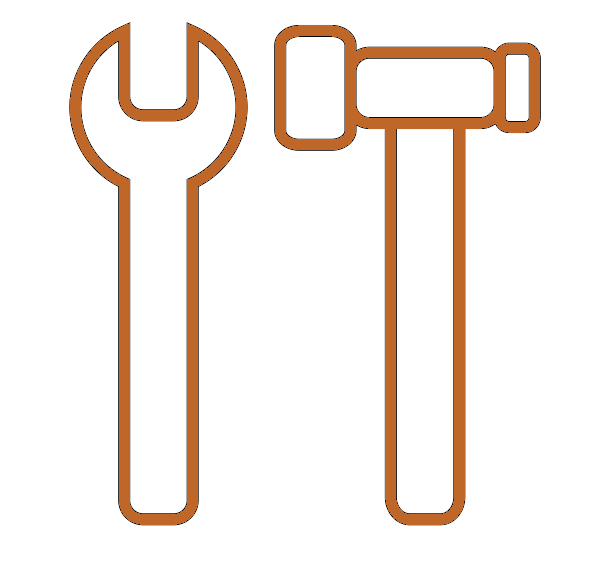 An orange icon of a hammer and spanner