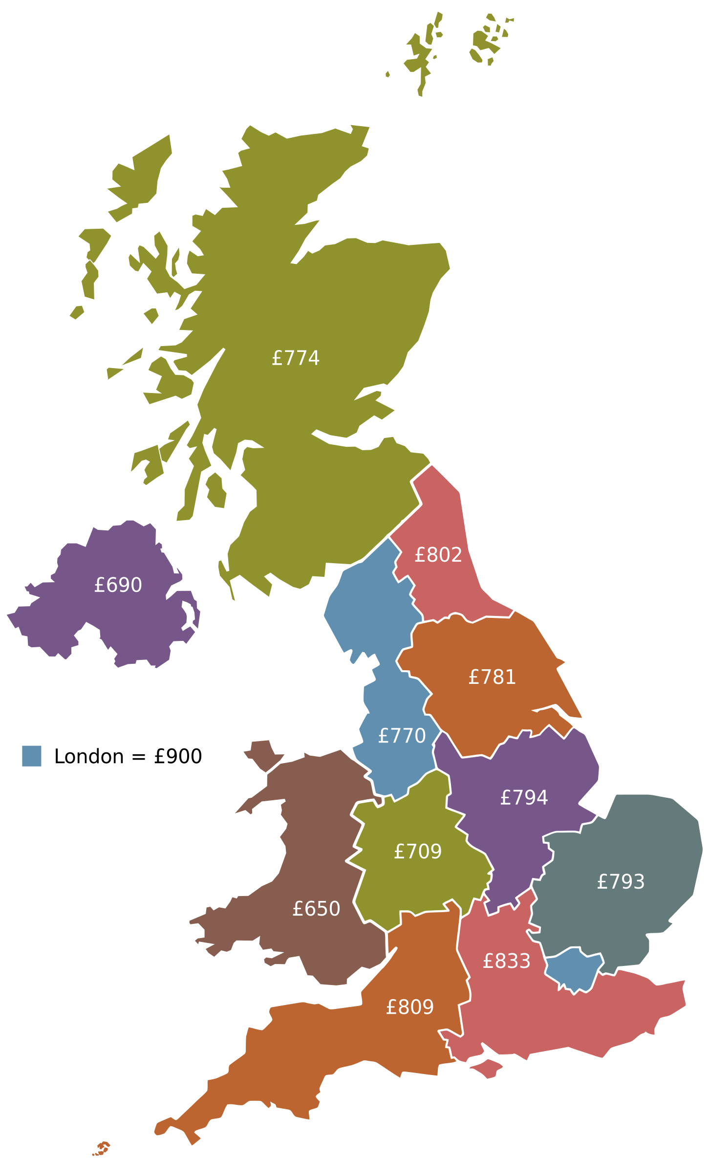 Illustration of a university student's spend per UK area