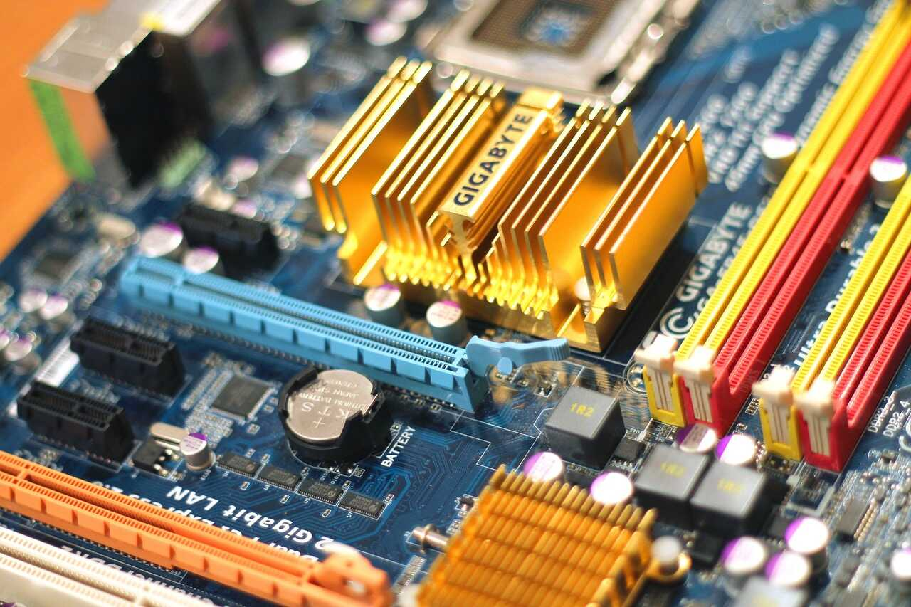 Close up of a motherboard and computer chips