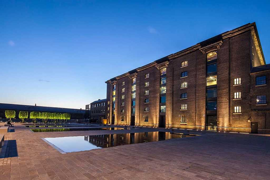 The square outside Central Saint Martins at night