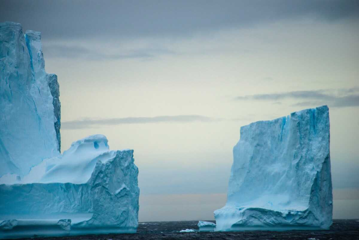 Blue icebergs in the sea