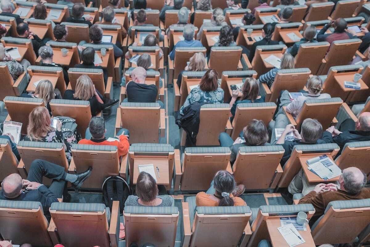 Students sitting in lecture theatre